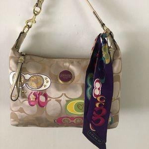 COACH Beige Khaki Leather Jacquard Shoulder Bag